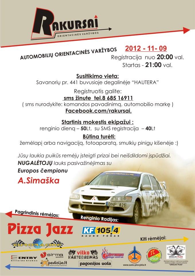 """Automobilų orientacinės varžybos """"Rakursai"""" 12.11.09"""