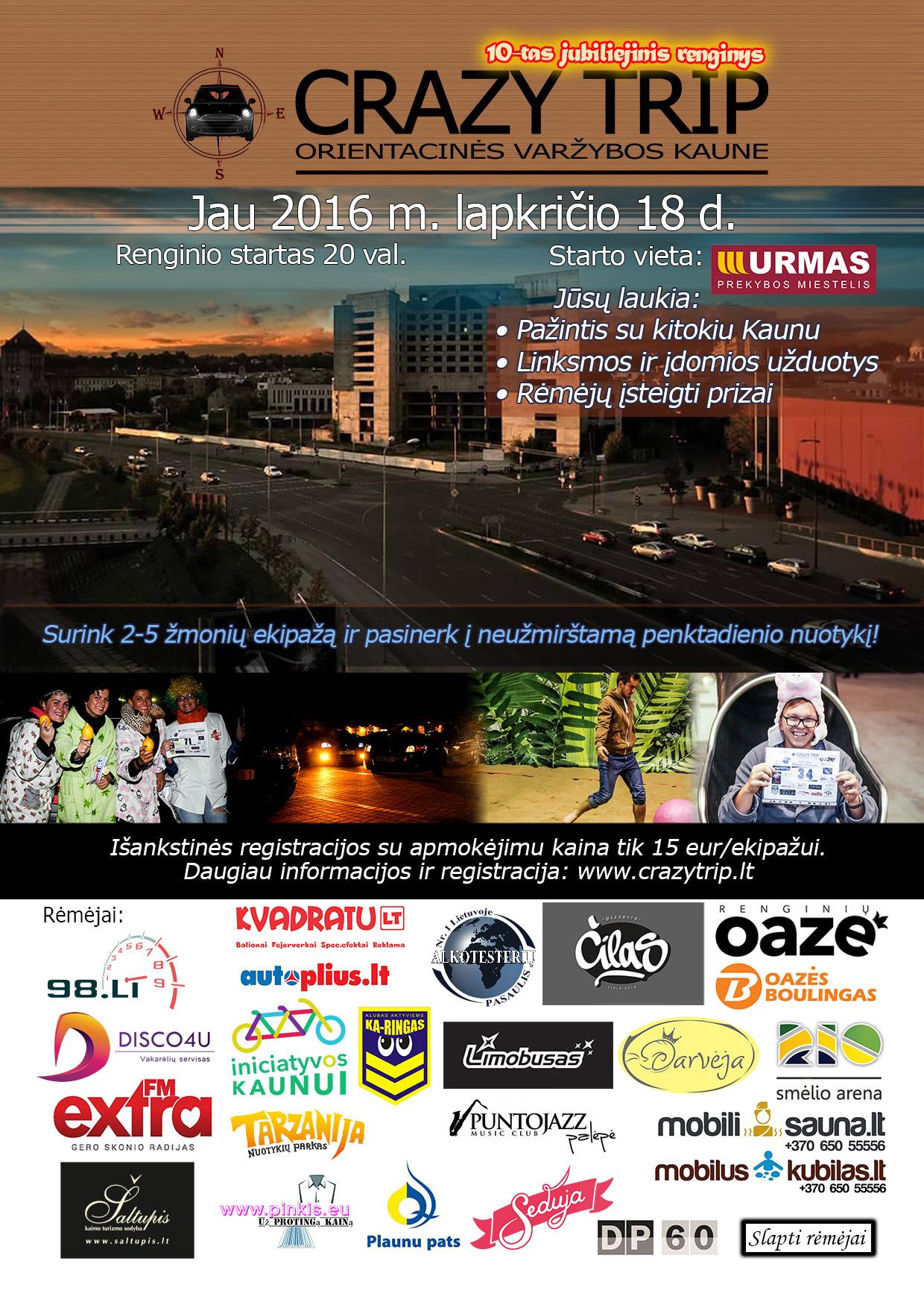 Pramoginės orientacinės automobilių varžybos Kaune CRAZY TRIP 2016-11-18