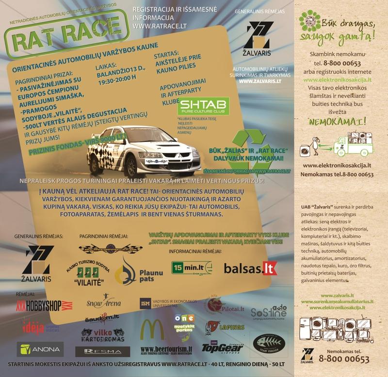 Balandžio 13-ąją į Kauną sugrįžta automobilių orientacinės varžybos RAT RACE!