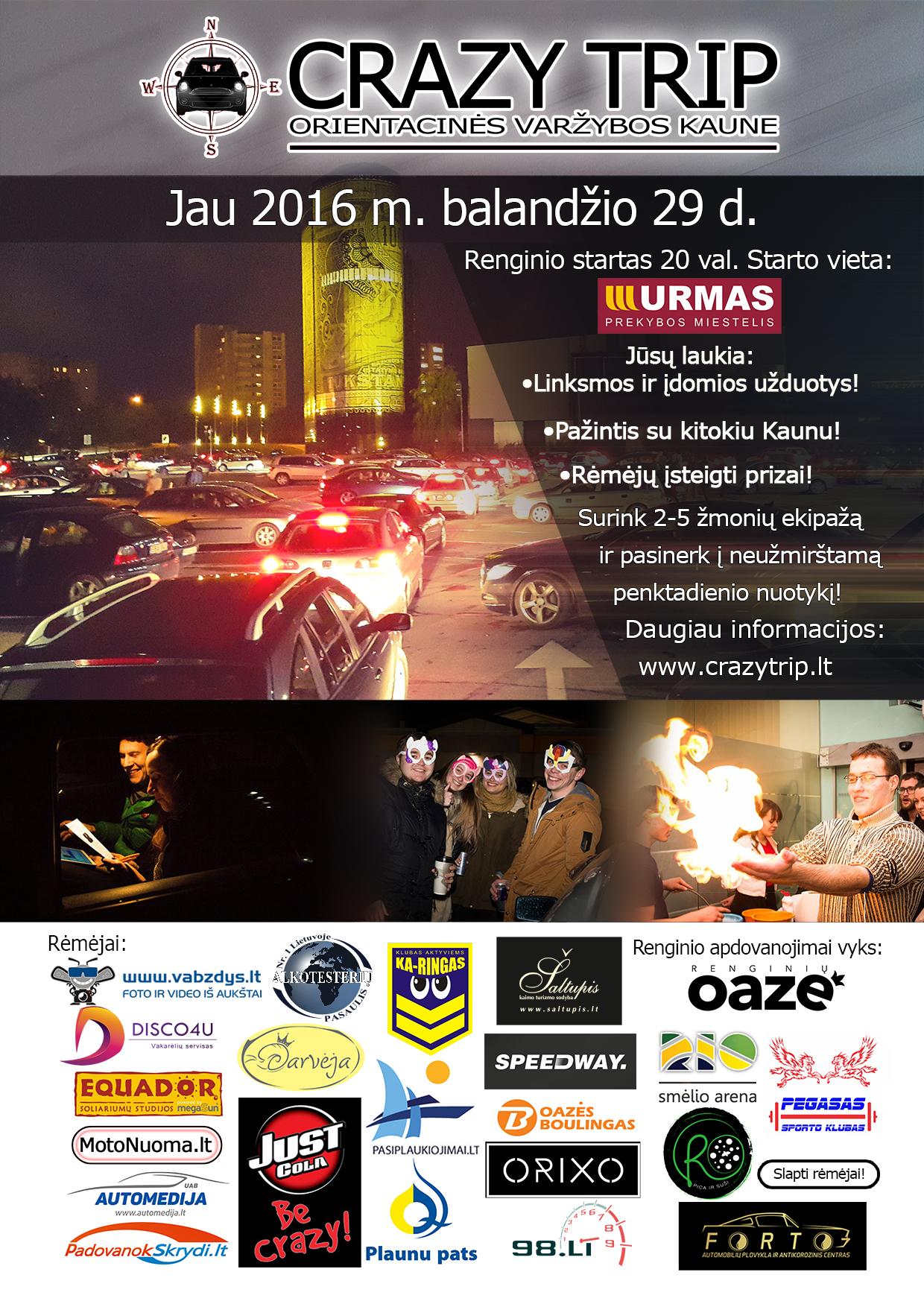 Pramoginės orientacinės automobilių varžybos Kaune CRAZY TRIP jau BALANDŽIO 29d